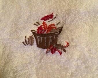Fall basket hand towel