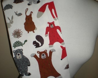 Handmade tea towel cream with red brown grey forest creatures  print cotton drill fabric