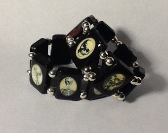 Halloween Skulls Vintage Black Wooden Tile Stretchy Bracelet