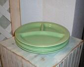 Vintage Bauer Divided Grill Plates Set of Four Celedon/Light Jade Green Boho Al Fresco Dining Fun in the Sun