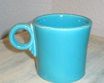 Vintage Homer Laughlin Fiesta Ware Turquoise Tom & Jerry Coffee Mug Old Mark Beauiful Excellent/Pristine