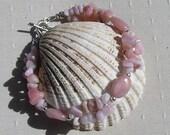 "Pink Morganite & Pink Opal Crystal Gemstone Bracelet ""Mimosa"", Pink Bracelet, Chakra Bracelet, Ocrober Birthstone, Libra Bracelet"