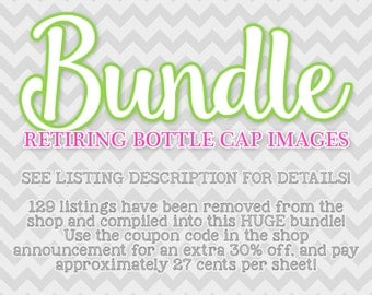 BUNDLE - 129 Retiring/Discontinued Bottle Cap Images - use coupon in the shop announcement for additional savings!
