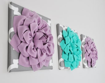 Home Decor - Lilac and Teal Decor Wall Decor Baby Nursery Room Decor Flower Wall Decor Canvas Wall Art Girl Room Decor Kids Room Decor 12X12