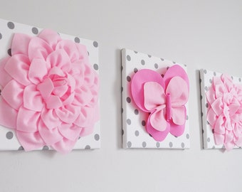 Butterfly and Flower Nursery Decor. Wall Art. 3D Butterfly and Dahlias. Pink, White and Gray  Girls Wall Hangings. Custom Colors and Prints.