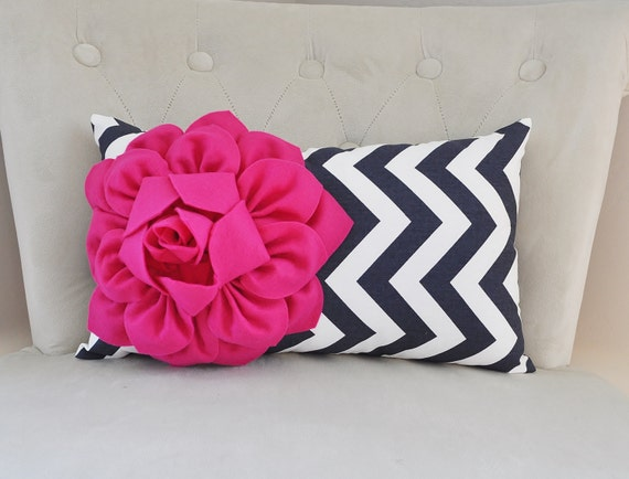 Navy And Pink Decorative Pillows: Pink And Navy Decorative Pillow Chevron Navy Decor Lumbar