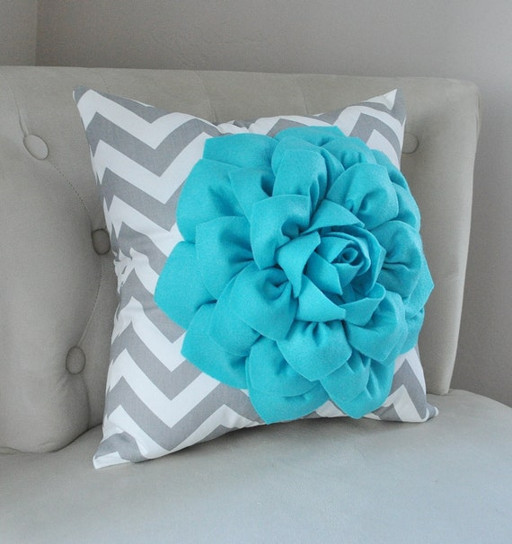 pillows turquoise flower on gray and white chevron pillow. Black Bedroom Furniture Sets. Home Design Ideas