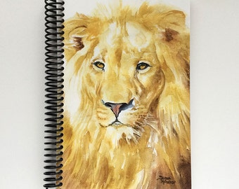 Spiral Bound Blank Journal with Watercolor Lion Cover - 5.5 x 8.5