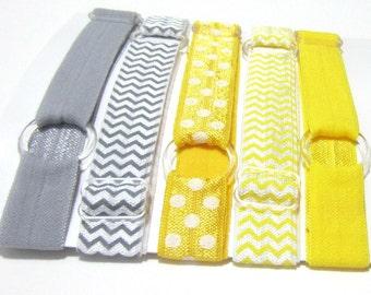 Set of 5 - Yellow & Grey Adjustable Elastic Headband, Hair Band, Baby Headband, Adult Headband, Toddler Headband, Teen, Sport Headband