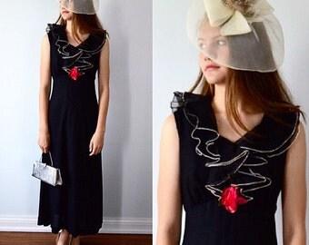 Vintage Black Evening Gown, 1960s Evening Gown, Formal Maxi Dress, Black Maxi Dress, 1960s Dress