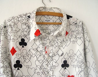 Vintage Moschino Poker Shirt. Casual Men Shirt.