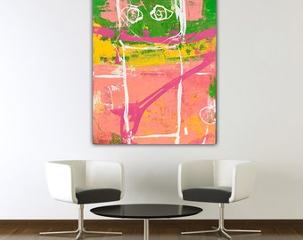 LARGE Painting fun colorful art abstract painting 30x40 canvas