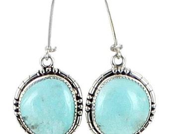 Kingman Turquoise Earrings Pale Sky Blue Large #2