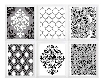 Damask  Moroccan style Wall Art Digital Modern Home Decor -Black Grey and White Wall Art Vintage- SET of  6:) Color option available