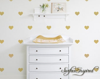 "Gold Wall Decals Hearts Wall Decor - 1"", 2"", 3"", 4"" heart decals for nursery and kids rooms"