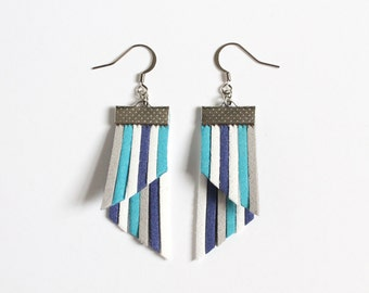 Color Stripes Earrings - Blue White Gray Stripes