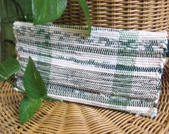 Summer Boho Chic Bag, Green Clutch Wristlet Envelope Purse, Seaside Beach Cottage Rustic Country Garden Party Artisan Woven Travel Wallet
