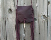 Burgundy crossbody bag with fringe , Fringed burgundy phone bag