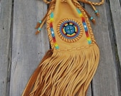 ON SALE Native american style shoulder bag , Fringed drawstring shoulder bag with a turtle totem and raibow beadwork