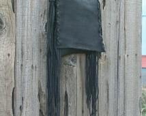 ON SALE Black leather handbag ,  Fringed leather phone bag ,  Black crossbody purse