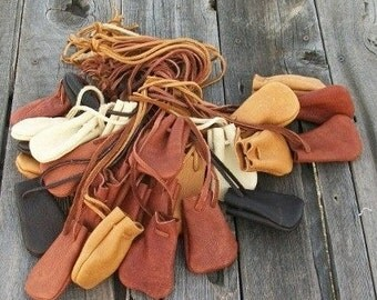 Leather medicine bags , 30 leather medicine bags , Leather neck pouches