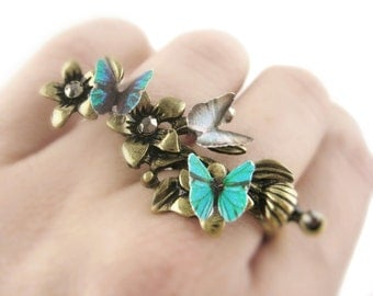 Twig Ring Nature Jewelry Double Ring Butterfly Jewelry Statement Ring Vine Ring Twig Jewelry Nature Inspired Ring