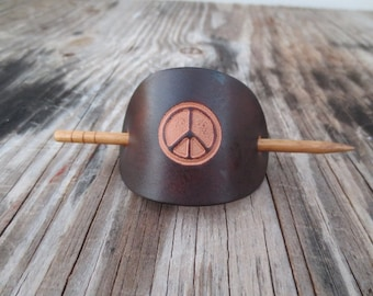 Small Leather Barrette with Peace Symbol