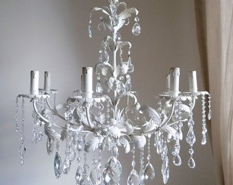 on sale Italian tole vintage 8 lights ivory chandelier, shabby chic, luminous cascade of glass and crystals