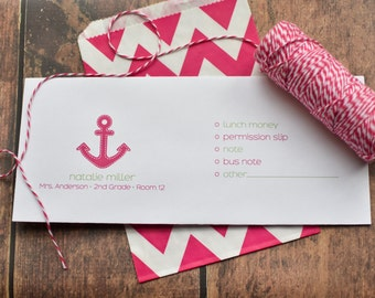 Personalized School Money Envelope for Money and Notes - Girls Anchor Design - Personalized School Envelopes - Girls Preppy Anchor
