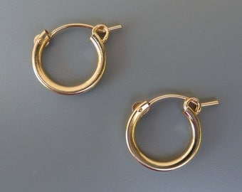 Gold Hoop Earrings, 13mm Gold Hoops, 15mm Gold Hoops, 18mm Gold Hoops, Interchangeable Earrings, For Earring Charms, Hoops For Charms,1 Pair