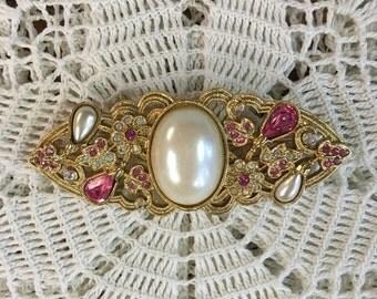 Vintage Brooch Pearl & Pink Rhinestone