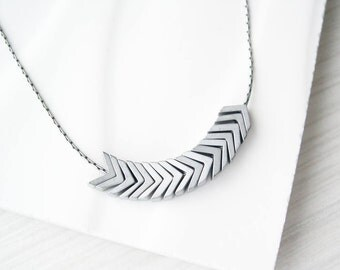 Silver Chevron Necklace - Modern Jewelry, Arrow, Metal, Hematite, Stone, Metallic,  Matte, Simple
