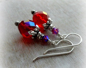 Victorian Cherry Red Czech Glass Earrings - Victorian Jewelry - Ruby Red Wedding Earrings - Holly Red Christmas Wedding Iridescent Earrings