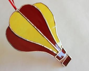 STAINED GLASS BALLOON- Hot Air Balloon Suncatcher, Hot Air Balloon, Birthday Gift, Gift for Coworker, Balloon in Stained Glass, Gift for Him
