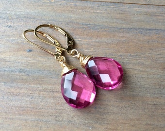 Pink Topaz Quartz Earrings - Sterling Silver Gold fill Rose Gold Tarnished Silver