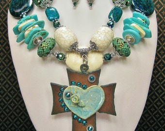 Western Cowgirl Necklace Set / Western Statement Jewelry / Howlite Turquoise Necklace / Cross Necklace / Bold Chunky Jewelry - MaVeRiCK