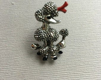 Silver Poodle Pin Dog Brooch Red Bow