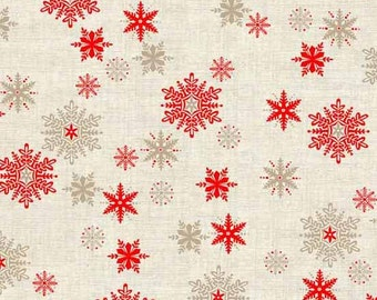 Red Tan Snowflakes - Scandi III from Andover - Full or Half Yard Linen Look Snowflake Cotton