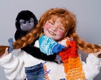 """PIPPI LONGSTOCKING Storybook Artist Doll by Lynn Cartwright - 30"""" tall"""