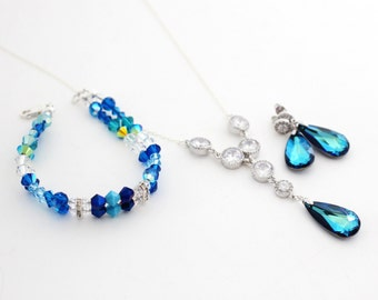Peacock Wedding Jewelry Set, Blue Wedding Jewelry, Bermuda Blue Swarovski Set, Bridal Earring and Bracelet Set, Bridal Bracelet and Necklace