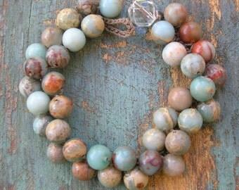 Beachy crochet bracelet - Bubbly -  Bohemian Boho jewelry, layering jewelry stack bracelet, semiprecious stones, sky blue, sand