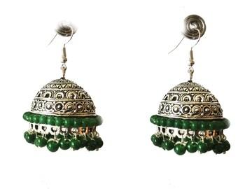 SILVER Jhumka Earrings,Large Silver Jhumkas,Green & Silver Ethnic Jewelry,Indian Tribal Jhumkis, Designer Jhumka by TANEESI