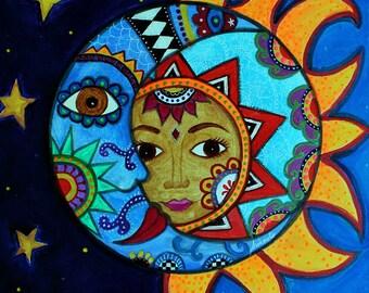 Folk Art Pristine Whimsical Sun and Moon Couple Prisarts Original Painting 11 X 14