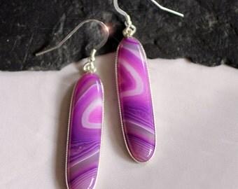 Violet Mist - Beautiful Purple Banded Agate Sterling Silver Earrings