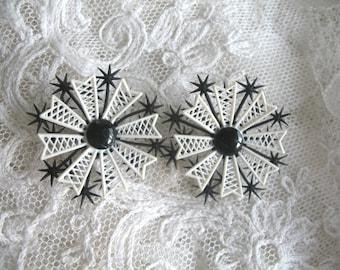 Vintage Soft Plastic Earrings ~ White & Black Flowers ~ Clip On