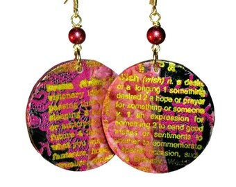 Artsy Pink Dangle Earrings, Wish, Dream, Lightweight Earrings, Hand Painted, Hand Stamped