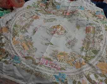 Vintage Brocaded Satin  Square tablecloth with fringe