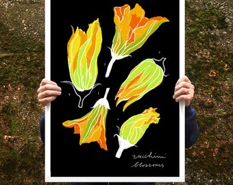 "Zucchini Blossoms Kitchen Art 20""x27"" Food illustration - archival fine art giclée print"