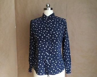 vintage 1990's silk blouse / navy blue and white polka dots / womens small size