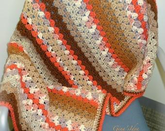 "Crochet  BABY BLANKET AFGHAN Granny Squares Stripes 38"" x 28"" Warm Soft Orange Brown Beige Boy Girl"